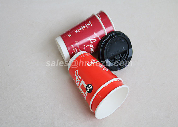 Red 8oz Disposable Coffee Cups Double Walled Customize Logo Printed With Lids