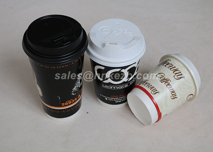 12oz Insulated Hot Drink Paper Cups , Hot Beverage Cups With Lids For Take Out Drinks