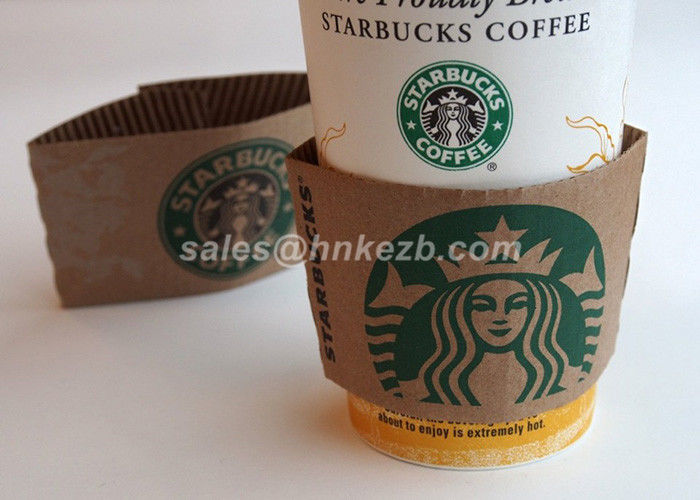 80mm Logo Print Kraft Paper Coffee Cup Sleeve ,  Ripple Coffee Cup Heat Sleeve